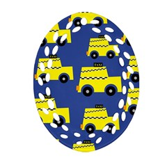A Fun Cartoon Taxi Cab Tiling Pattern Oval Filigree Ornament (two Sides)