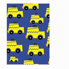 A Fun Cartoon Taxi Cab Tiling Pattern Large Garden Flag (Two Sides)