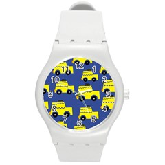 A Fun Cartoon Taxi Cab Tiling Pattern Round Plastic Sport Watch (M)