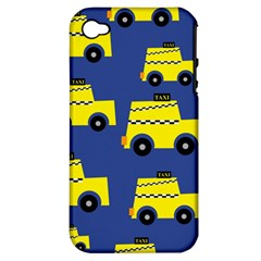 A Fun Cartoon Taxi Cab Tiling Pattern Apple Iphone 4/4s Hardshell Case (pc+silicone)