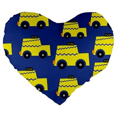 A Fun Cartoon Taxi Cab Tiling Pattern Large 19  Premium Heart Shape Cushions
