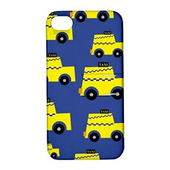 A Fun Cartoon Taxi Cab Tiling Pattern Apple iPhone 4/4S Hardshell Case with Stand