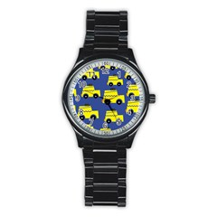 A Fun Cartoon Taxi Cab Tiling Pattern Stainless Steel Round Watch