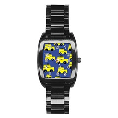 A Fun Cartoon Taxi Cab Tiling Pattern Stainless Steel Barrel Watch