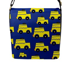 A Fun Cartoon Taxi Cab Tiling Pattern Flap Messenger Bag (l)