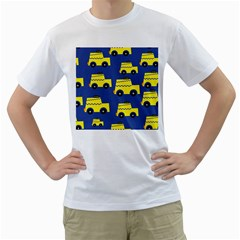A Fun Cartoon Taxi Cab Tiling Pattern Men s T-Shirt (White)