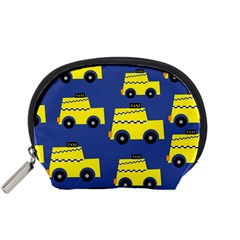 A Fun Cartoon Taxi Cab Tiling Pattern Accessory Pouches (small)