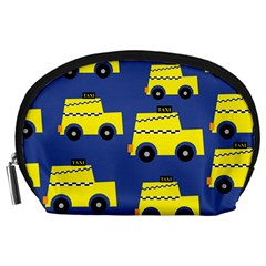 A Fun Cartoon Taxi Cab Tiling Pattern Accessory Pouches (large)