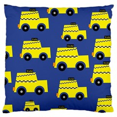 A Fun Cartoon Taxi Cab Tiling Pattern Large Flano Cushion Case (one Side)
