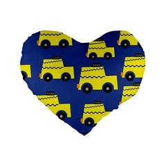 A Fun Cartoon Taxi Cab Tiling Pattern Standard 16  Premium Flano Heart Shape Cushions