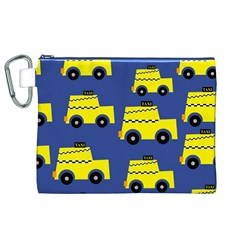 A Fun Cartoon Taxi Cab Tiling Pattern Canvas Cosmetic Bag (XL)