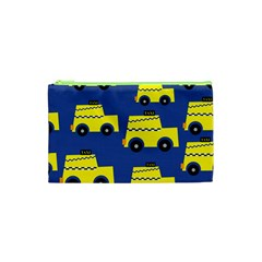 A Fun Cartoon Taxi Cab Tiling Pattern Cosmetic Bag (xs)