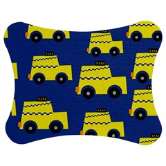 A Fun Cartoon Taxi Cab Tiling Pattern Jigsaw Puzzle Photo Stand (Bow)