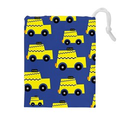 A Fun Cartoon Taxi Cab Tiling Pattern Drawstring Pouches (extra Large)