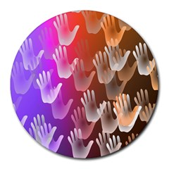 Clipart Hands Background Pattern Round Mousepads