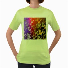 Clipart Hands Background Pattern Women s Green T-Shirt