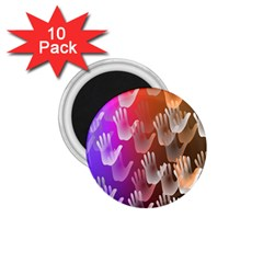 Clipart Hands Background Pattern 1.75  Magnets (10 pack)