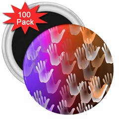 Clipart Hands Background Pattern 3  Magnets (100 pack)