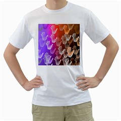 Clipart Hands Background Pattern Men s T-Shirt (White) (Two Sided)