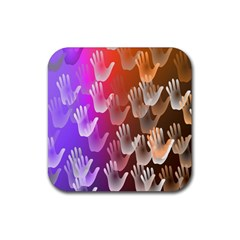Clipart Hands Background Pattern Rubber Square Coaster (4 Pack)