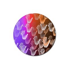 Clipart Hands Background Pattern Rubber Coaster (round)