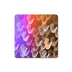 Clipart Hands Background Pattern Square Magnet