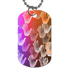 Clipart Hands Background Pattern Dog Tag (Two Sides)
