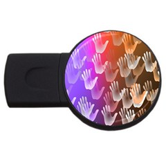 Clipart Hands Background Pattern USB Flash Drive Round (2 GB)