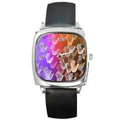 Clipart Hands Background Pattern Square Metal Watch