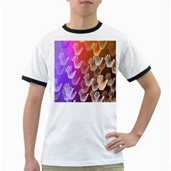 Clipart Hands Background Pattern Ringer T-Shirts