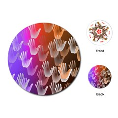 Clipart Hands Background Pattern Playing Cards (round)