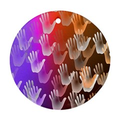 Clipart Hands Background Pattern Round Ornament (Two Sides)