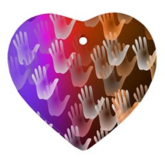 Clipart Hands Background Pattern Heart Ornament (two Sides)