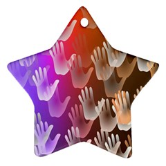 Clipart Hands Background Pattern Star Ornament (Two Sides)
