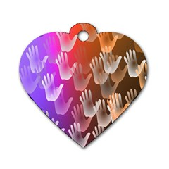 Clipart Hands Background Pattern Dog Tag Heart (Two Sides)