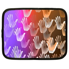 Clipart Hands Background Pattern Netbook Case (Large)