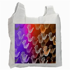 Clipart Hands Background Pattern Recycle Bag (one Side)