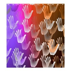 Clipart Hands Background Pattern Shower Curtain 66  x 72  (Large)