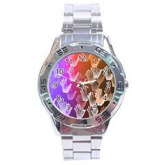 Clipart Hands Background Pattern Stainless Steel Analogue Watch