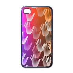 Clipart Hands Background Pattern Apple Iphone 4 Case (black)