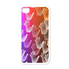 Clipart Hands Background Pattern Apple iPhone 4 Case (White)