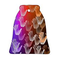 Clipart Hands Background Pattern Bell Ornament (two Sides)