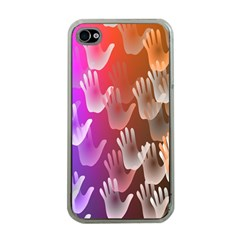 Clipart Hands Background Pattern Apple Iphone 4 Case (clear)