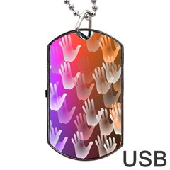 Clipart Hands Background Pattern Dog Tag USB Flash (One Side)