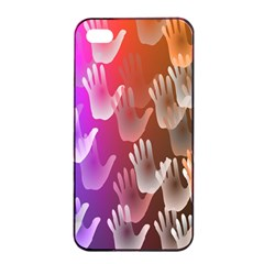 Clipart Hands Background Pattern Apple iPhone 4/4s Seamless Case (Black)