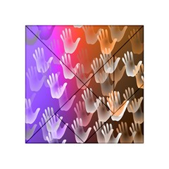 Clipart Hands Background Pattern Acrylic Tangram Puzzle (4  X 4 )