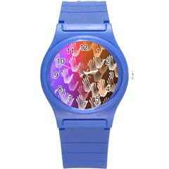 Clipart Hands Background Pattern Round Plastic Sport Watch (s)