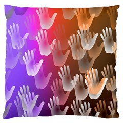 Clipart Hands Background Pattern Large Cushion Case (One Side)