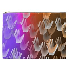 Clipart Hands Background Pattern Cosmetic Bag (XXL)