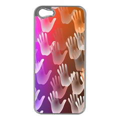 Clipart Hands Background Pattern Apple Iphone 5 Case (silver)